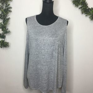 A New Day Gray Cold Shoulder L/S Top